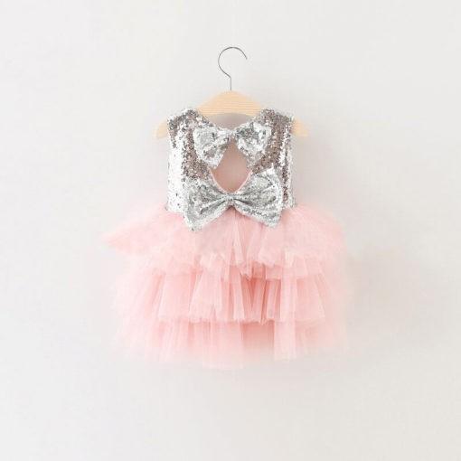 children sequined mesh dress back