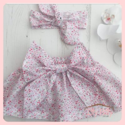 Handmade Statement Bow Skirt and head wrap set