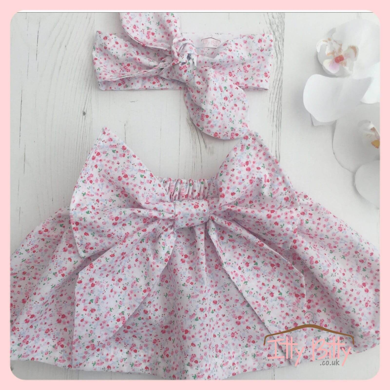 Handmade Statement Bow Skirt and Head Wrap Set Baby Boutique Clothing