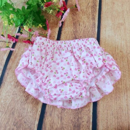 Pink Heart Ruffled Baby Bloomers and Headband Outfit Set