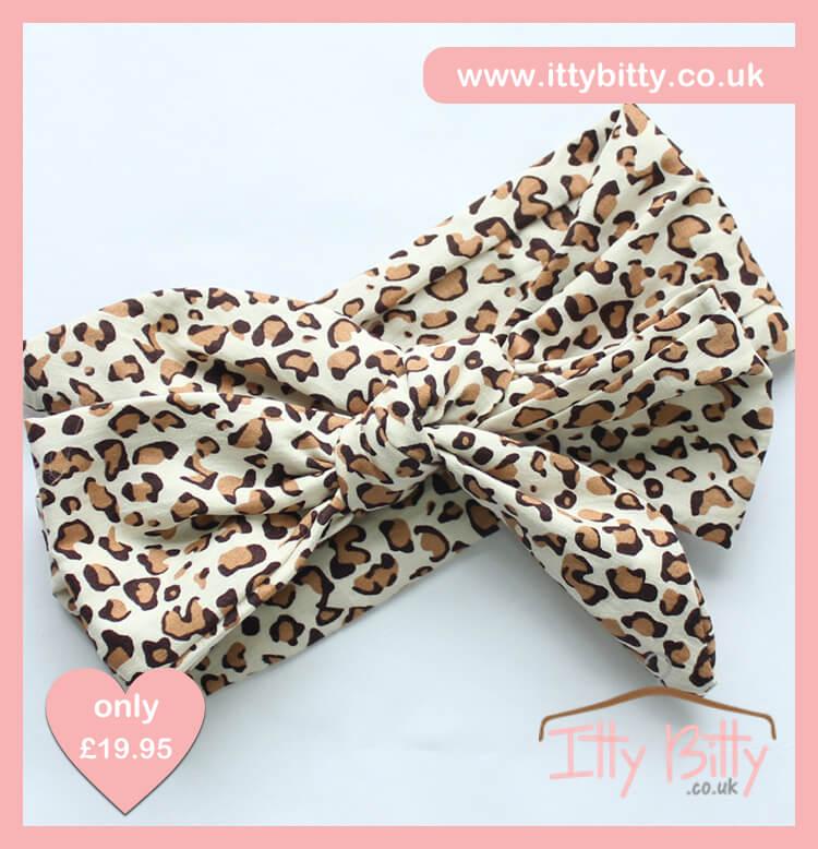 Itty Bitty 3 Piece Black Leopard Print Set Headband
