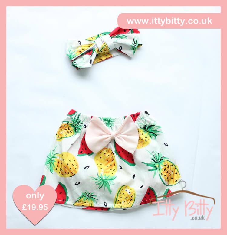 Itty Bitty 3 Piece Frutti Tutti Set skirt & Headband