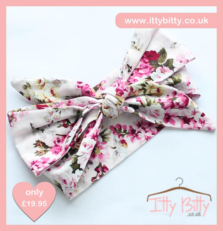 Itty Bitty 3 Piece Soft Pink Floral Set Headband