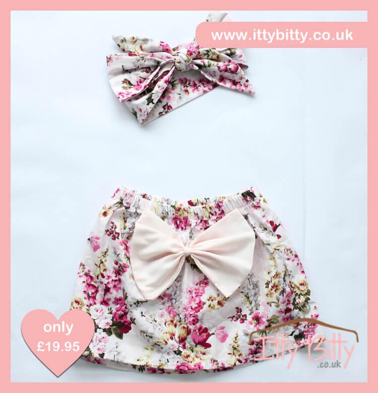 Itty Bitty 3 Piece Soft Pink Floral Set - Skirt & Headband