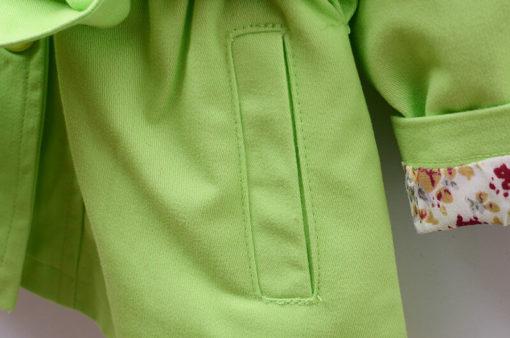 Itty Bitty Green Summer Trench Coat pocket