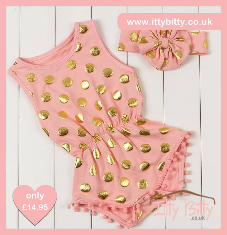 Itty Bitty Pink Gold Dot Romper