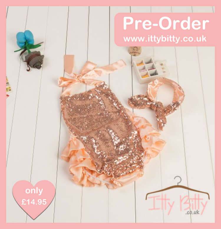 Itty Bitty Sequin Ruffle Romper – Rose Gold – Baby Boutique Clothing b4f0b559863f
