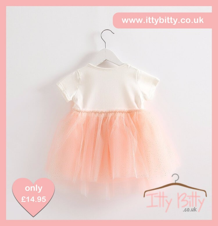 Itty Bitty Short Sleeve Pink & White Bow Dress Back