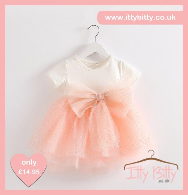 Itty Bitty Short Sleeve Pink & White Bow Dress
