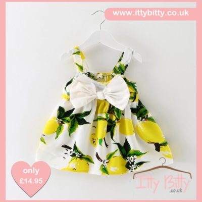 Itty Bitty Summer Lemon Bow Dress
