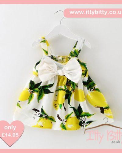 Itty Bitty Summer Lemon Bow Dress