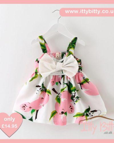 Itty Bitty Summer Pink Lemon Bow Dress