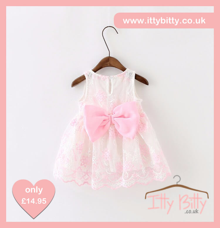 Itty Bitty White   Soft Pink Big Bow Dress – Baby Boutique Clothing 02a6ba53d248
