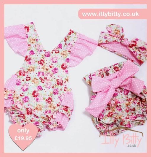Pink Poka Dot Romper, Shorts & Headband Vintage floral Set