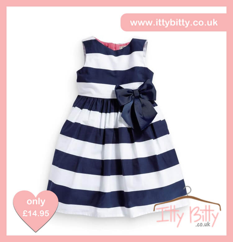 Itty Bitty Blue   White Seaside Bow Dress – Baby Boutique Clothing 253bdf5ee681