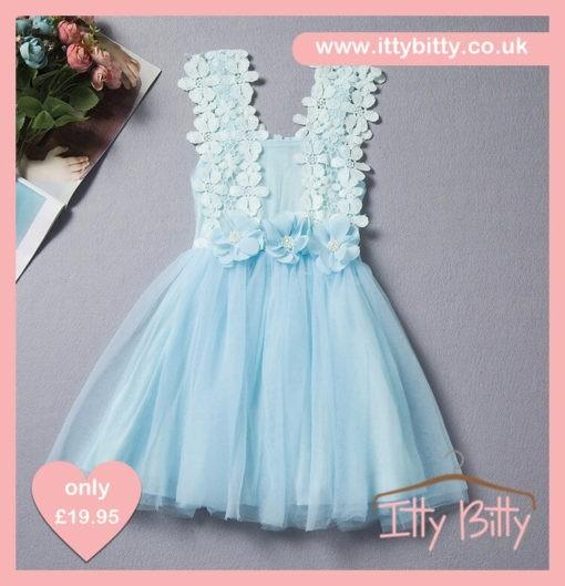 Itty Bitty Younger Girls Blue Flower Power Dress