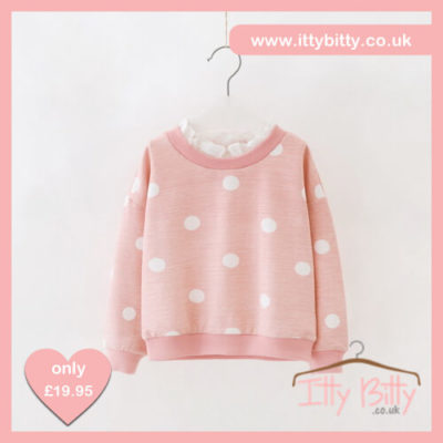 Itty Bitty Autumn Pink Bow Polka Dot Frill Jumper