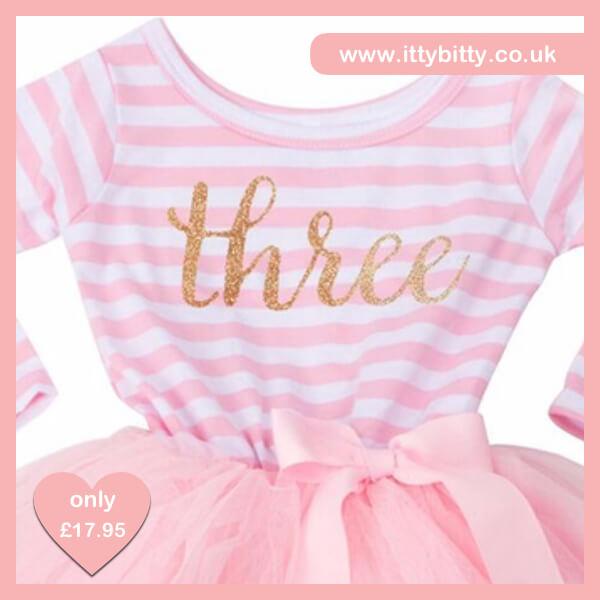 Itty Bitty Pink & White Third Birthday Tutu Dress