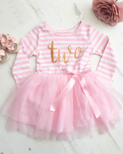 Itty Bitty Pink & White second Birthday Tutu Dress