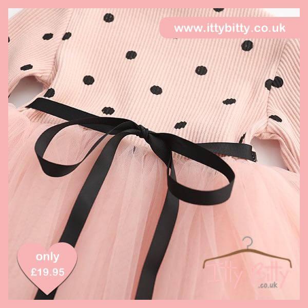 Itty Bitty Pink Autumn Black Dots Long-sleeve dress
