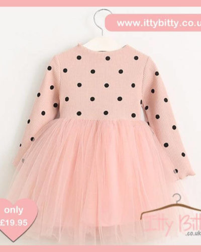 Itty Bitty Pink Autumn Black Dots Long-sleeve dress