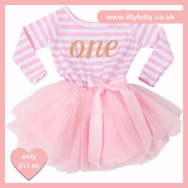 Itty Bitty Pink White First Birthday Tutu Dress