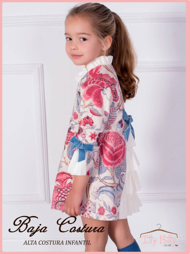 Itty Bitty Premium Spanish Boutique Blue Bow Floral Dress