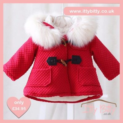 Itty Bitty VIP Thermal Fleece Baby Coat Red Christmas Edition