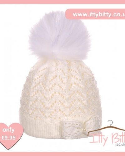 Itty Bitty White Bow Christmas Fur Pom Pom Beenie Hat