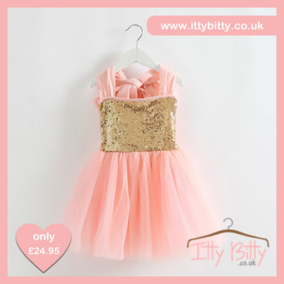 Itty Bitty Christmas Princess Gold & Pink Bow Dress