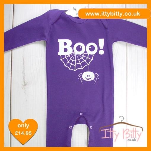 "Itty Bitty Halloween ""BOO!"" Romper - Baby Costume in Purple"