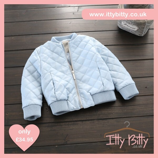 Itty Bitty Blue Leather Look Quilted Bomber Jacket – Baby Boutique ... 8bbb786462cc
