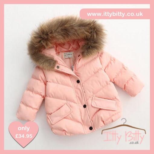 Itty Bitty Girls Pink Short Padded Fur Hooded Coat
