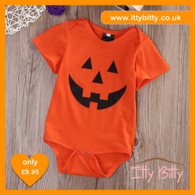 Itty Bitty Halloween Orange Pumpkin Romper