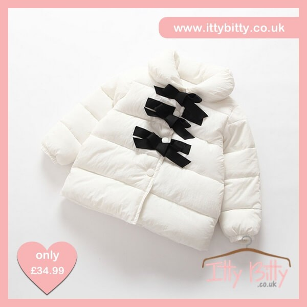 Itty Bitty VIP White Princess Bowknot Down Jacket – Baby Boutique Clothing f3a0862119ff