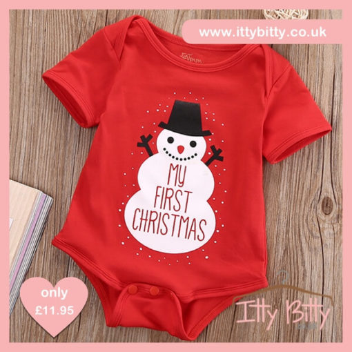Itty Bitty Newborn My First Christmas Romper