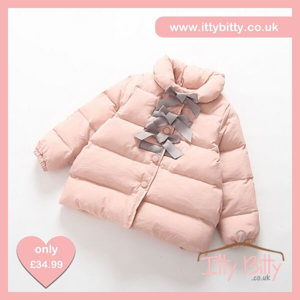 Itty Bitty VIP Pink Princess Bowknot Down Jacket – Baby Boutique ... 3221a36d67ef