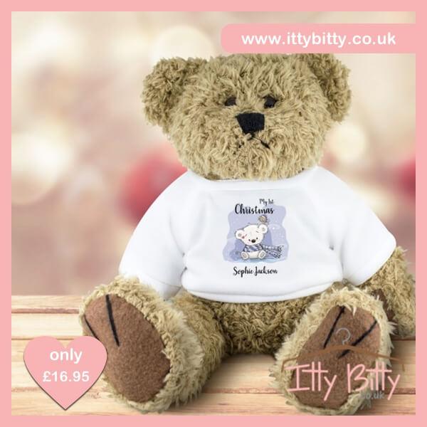 Itty Bitty Personalised My 1st Christmas Cute Teddy Bear