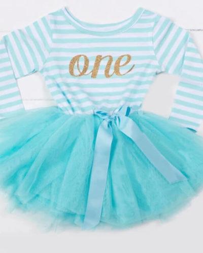 Itty Bitty Aqua & White First Birthday Tutu Dress