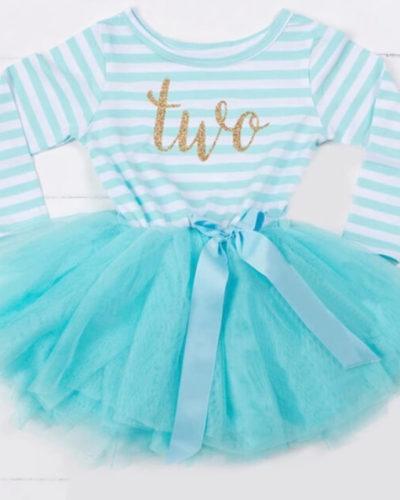 Itty Bitty Aqua & White second Birthday Tutu Dress