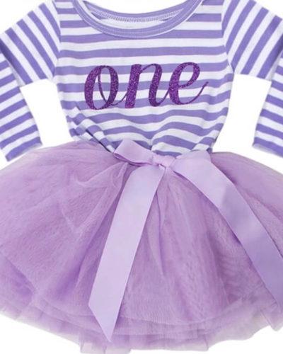 Itty Bitty Purple & White First Birthday Tutu Dress