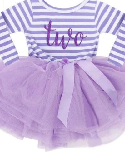 Itty Bitty Purple & White second Birthday Tutu Dress