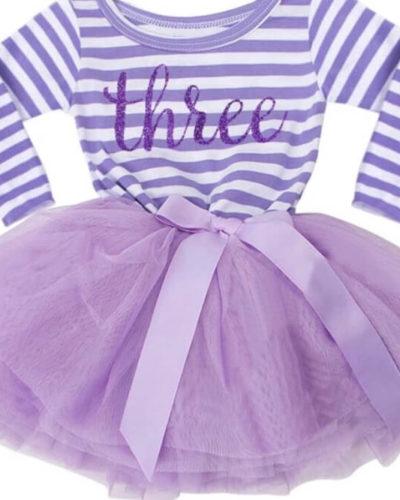 Itty Bitty Purple & White Third Birthday Tutu Dress