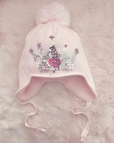 Itty Bitty Princess Pink Metallic Crown Knitted Pom Pom Hat