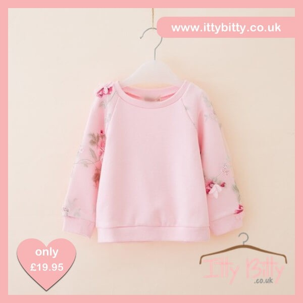 Itty Bitty Pink 3D Flower Autumn Jumper – Baby Boutique Clothing c319856ede72