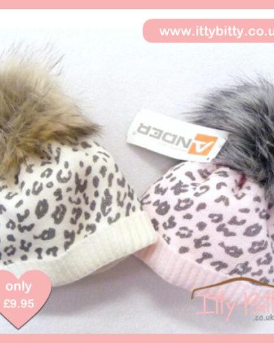 Itty Bitty Pink Leopard Print Fleece Lined Fur Pom Pom Beanie Hat
