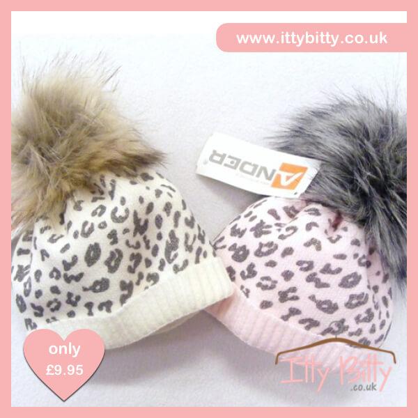 Itty Bitty Cream Leopard Print Fleece Lined Fur Pom Pom Beanie Hat – Baby  Boutique Clothing cd0127de2707