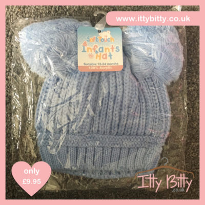 Itty Bitty Baby Blue Double Pom Pom Beanie Hats