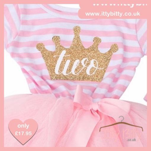Itty Bitty Pink & White Second Birthday Princess Crown Tutu Dress