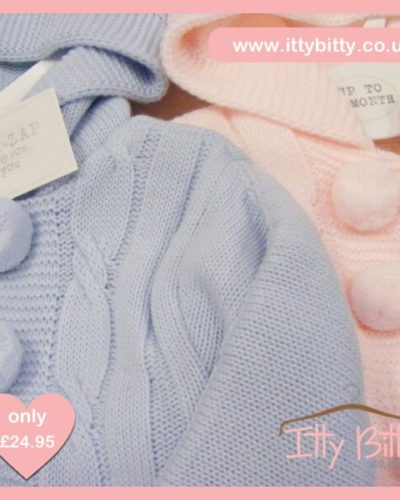 Itty Bitty Knitted Cable Hooded Pom Pom Jacket & Leggings Set